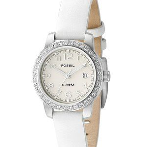 Fossil White Leather Strap Silver Dial Watch